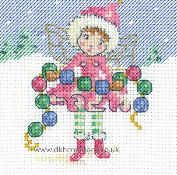 Maria Diaz Fairy Chain Christmas Greeting Card Cross Stitch Kit